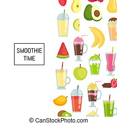 Vector flat smoothie elements background banner poster