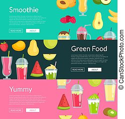 Vector flat smoothie elements web banner templates illustration