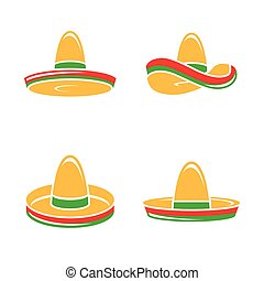 Vector Flat Sombrero Hat Icons Set on White Background