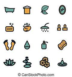 Vector flat spa icons set
