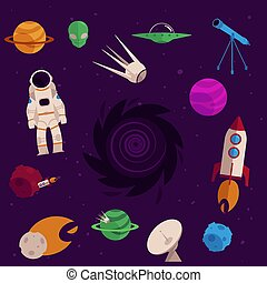 Vector flat space, cosmos objects icon set