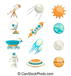 Vector flat space icon set