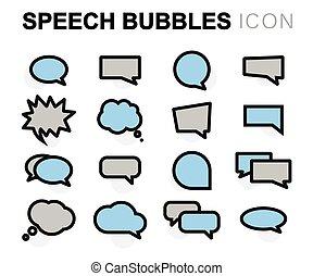 Vector flat speech bubbles icons set
