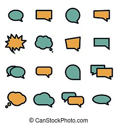 Vector flat speech bubbles icons set