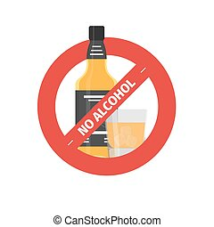 Vector flat stop drinking icon of alcohol bottle with glass