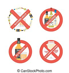 Vector flat stop drinking icons set of alcohol bottle with glass
