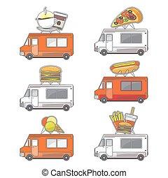 Vector flat street food truck icons set