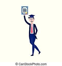 Vector flat student graduate man with diploma