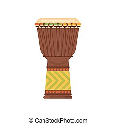 Vector flat style African drum musical instrument djembe....