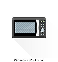 vector flat style black microwave oven illustration