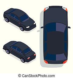 Vector flat-style cars in different views. Black sedan