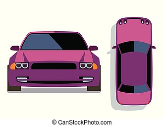 Vector flat-style cars in different views. Lilac car