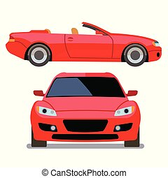 Vector flat-style cars in different views. Red cabriolet...