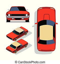Vector flat-style cars in different views. Red muscle car