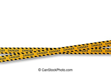 Vector flat style cartoon illustration isolated on background. Black and yellow stripes set. Warning tapes. Danger signs. Caution ,Barricade tape, Do not cross, police, scene barrier tape.