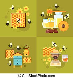 Vector flat style colorful honey and beekeeping illustrations.