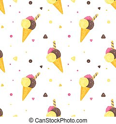 Vector flat style colorful seamless pattern with various kinds of ice cream.