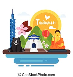 composition of Taiwan cultural symbols. - Vector flat style ...