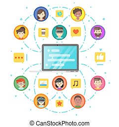 Vector flat style concept of social network and people comunication.
