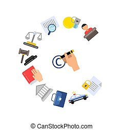 Vector flat style copyright elements or icons - Vector...