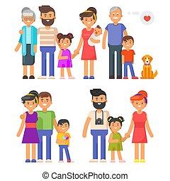 Vector flat style family set. Parents, grandparents, kids