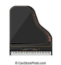 vector flat style grand piano illustration