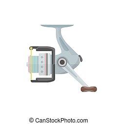 vector flat style gray fishing reel illustration