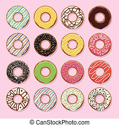 vector flat style icons of glazed colorful donuts - vector ...
