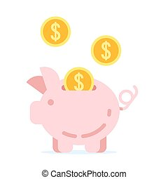 piggy bank with golden coins.