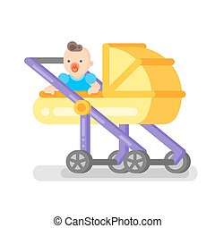 Vector flat style illustration of baby in the stroller.