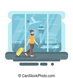Vector flat style illustration of bearded man with bag in airport.