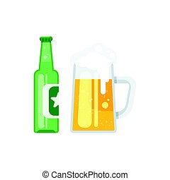 Vector flat style illustration of beer bottle and beer glass.