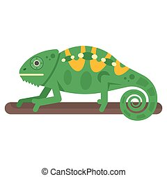 Vector flat style illustration of chameleon.