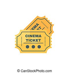 Vector flat style illustration of cinema ticket. Isolated on white background.
