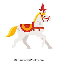 Vector flat style illustration of circus white horse.