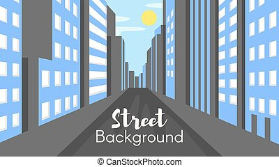 Vector flat style illustration of city street.