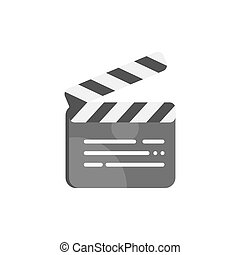 Vector flat style illustration of clapboard. Icon for web