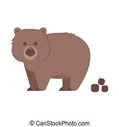 Vector flat style illustration of wombat. Icon for web....