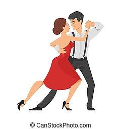 Vector flat style illustration of couple dancing tango.