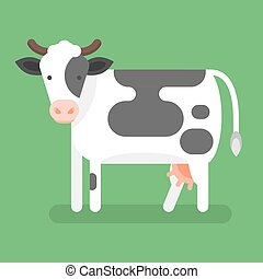 Vector flat style illustration of cow. Isolated on green background.