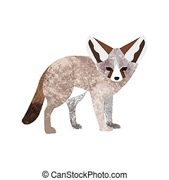 Vector flat style illustration of desert Fennec fox. Isolated on white background.