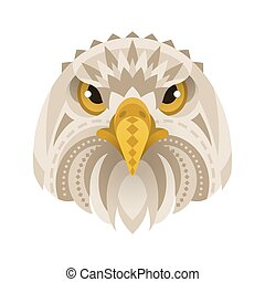Vector flat style illustration of eagle face.