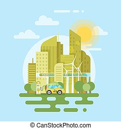 Vector flat style illustration of electric car in the city.