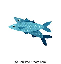 Vector flat style illustration of fish.