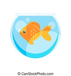 Vector flat style illustration of goldfish.