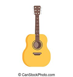 Vector flat style illustration of guitar icon.