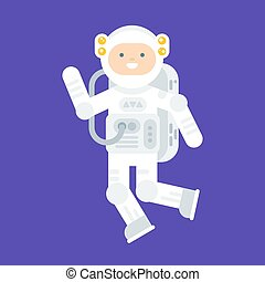 Vector flat style illustration of happy astronaut in space suit.