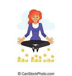 businesswoman in yoga pose