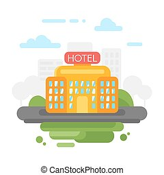 Vector flat style illustration of hotel.