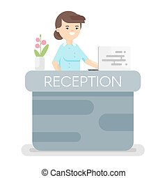 Vector flat style illustration of hotel reception. Isolated on white background. Icon for web.